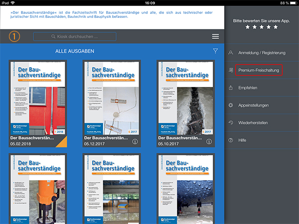 Screenshot E-Journal Freischaltung